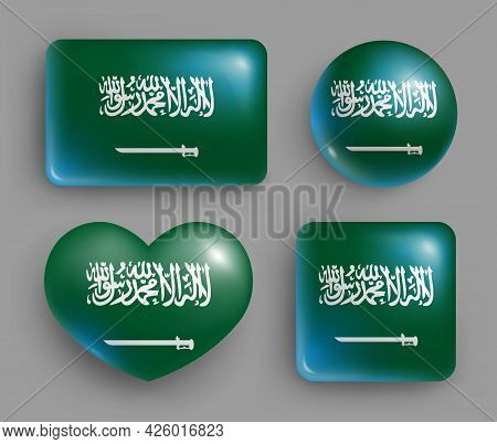 Set Of Glossy Buttons Of Saudi Arabia Country Flag. South Asia Country National Flag, Shiny Geometri