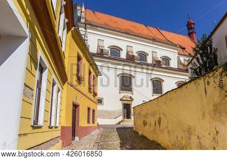 Znojmo, Czech Republic - September 18, 2020: Colorful Houses And The Michala Church In Znojmo, Czech