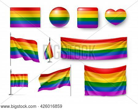 Lgbt Flags And Signs In Rainbow Colors Set. Freedom Symbols, Pride Flag, Glossy Buttons Of Various S