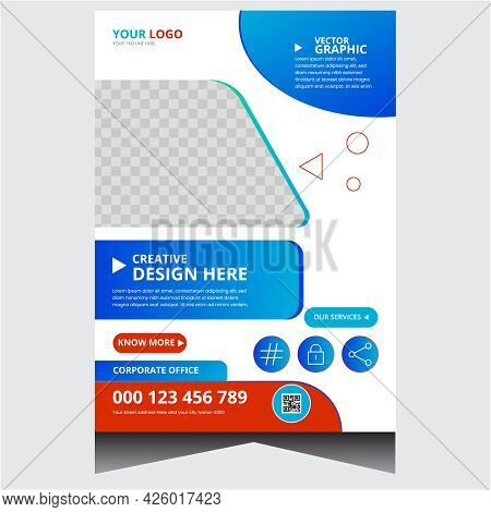 Dark Red And Blue Promotional Corporate Business Flyer Design Template