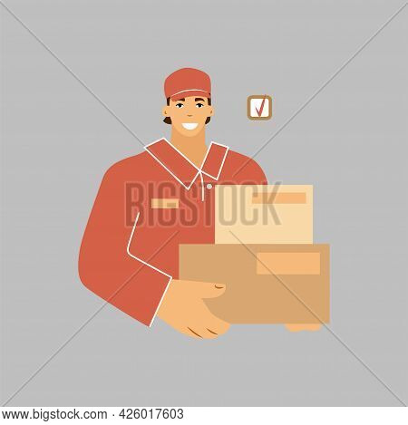 A Courier In Boxes In A Uniform. Fast Delivery Of Goods. Vector Illustration.