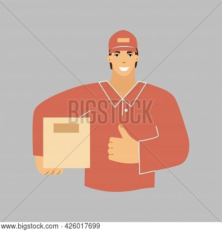 A Man Smiling From The Delivery With A Box In His Hand . A Courier In A Red Uniform. Vector Illustra