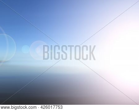 Bright Blue Sky Abstract Background With Digital Lens Flare Lighting. Clear Blue Sky Backgrounds Wit
