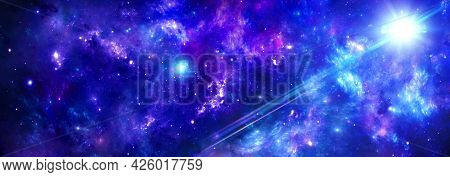 Outer Space With Blue-purple Nebulae And A Cluster Of Gas In The Universe, The Rays Of The Sun