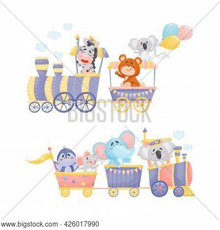 Funny Animals Riding Locomotive Or Steam Train Enjoying Journey Vector Set