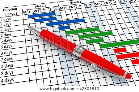 3d render of pen and project gantt progress chart sheet poster