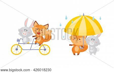 Humanized Fox And Hare Engaged In Different Activities Riding Bicycle And Walking Under Umbrella Vec