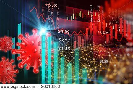 Analysis Stock Market Graph Due Coronavirus Or Covid-19 Crisis. Stock Market Graph And Business Fina