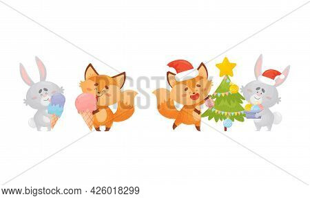 Humanized Fox And Hare Engaged In Different Activity Eating Ice Cream And Decorating Fir Tree Vector