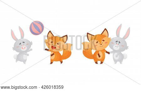 Humanized Fox And Hare Engaged In Different Activity Holding Paws And Playing Ball Vector Set