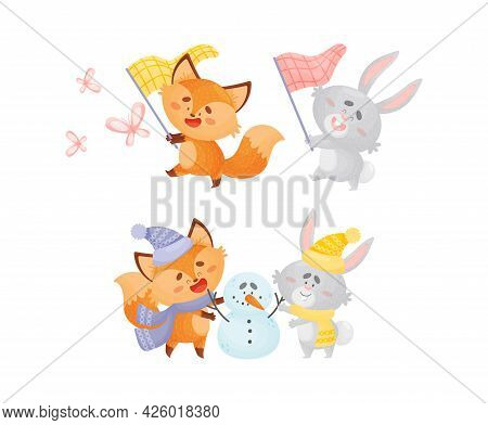 Humanized Fox And Hare Engaged In Different Activity Building Snowman And Catching Butterfly Vector