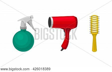 Hairstyling Tool With Brush And Hair Dryer For Doing Hair Vector Set