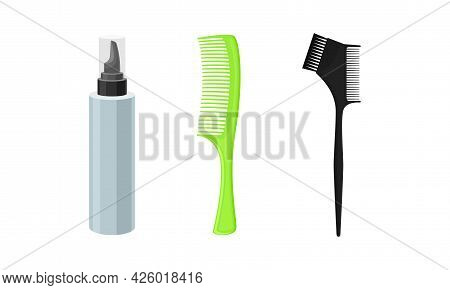Hairstyling Tool With Comb And Spray In Bottle For Doing Hair Vector Set