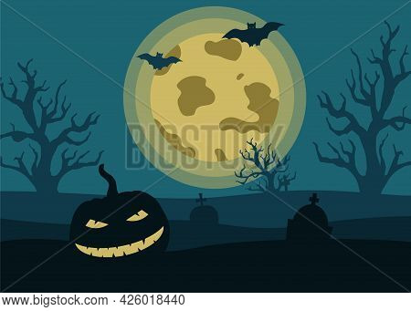 Halloween Night Landscape With A Scary Pumpkin, Gravestone Monuments, The Moon, Bats On The Backgrou