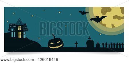Halloween Banner Template With Gloomy House, Pumpkin, Grave Monuments, Moon, Bats On Full Moon Backg
