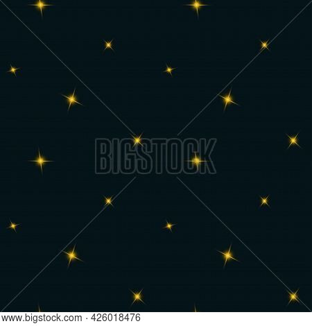Night Sky Seamless Pattern With Small Stars. Vector Endless Texture