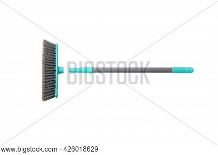 Object, Plastic Broom With Brush Push Head In Gray-blue Aqua On White Background Isolated And Clippi
