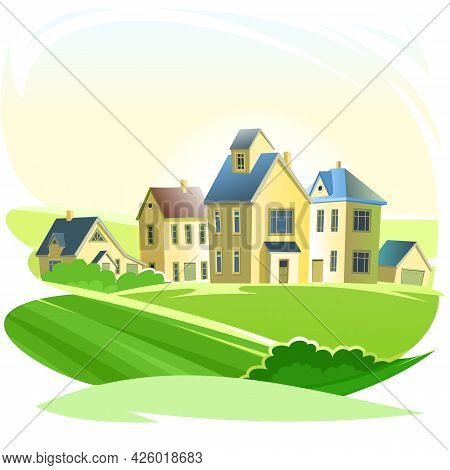 Village. Street With Houses. Cartoon Cheerful Flat Style. Village. Small Cozy Suburban Cottages In T