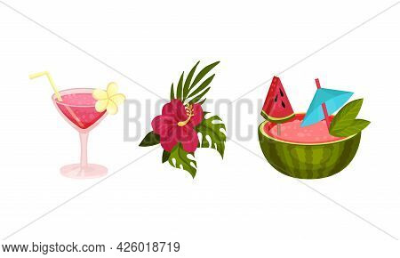 Hawaiian Beach Attributes And Tropical Symbols With Cocktail In Glass With Straw Vector Set