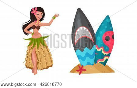 Hawaiian Beach Attributes And Tropical Symbols With Dancing Girl And Surfboard In Sand Vector Set