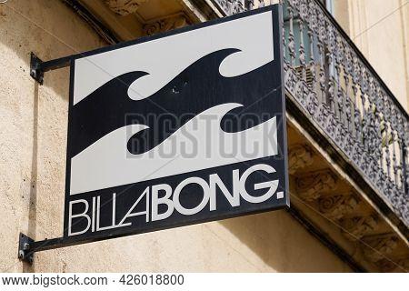 Toulouse , Ocitanie France  - 06 30 2021 : Billabong Surf Brand Text Fashion Clothes Boutique Boards