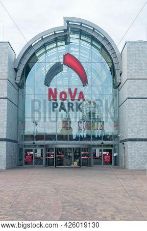 Gorzow Wielkopolski, Poland - June 1, 2021: Entrance To Nova Park Shopping Mall.
