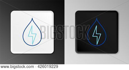 Line Water Energy Icon Isolated On Grey Background. Ecology Concept With Water Droplet. Alternative