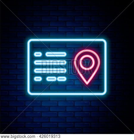 Glowing Neon Line Address Book Icon Isolated On Brick Wall Background. Telephone Directory. Colorful