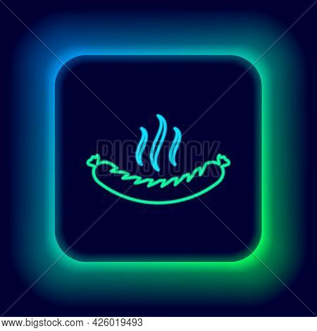 Glowing Neon Line Sausage With Steam Icon Isolated On Black Background. Grilled Sausage And Aroma Si