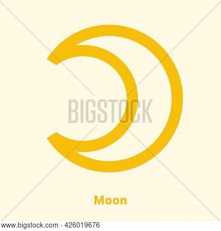 Moon. Planet Symbol. Vector Color Sign. Astrological Calendar. Jyotisha. Hinduism, Indian Or Vedic A