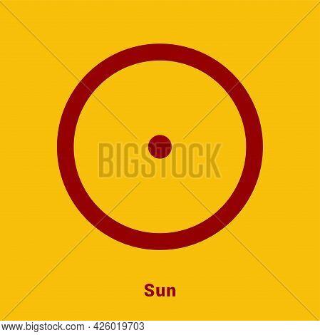 Sun. Planet Symbol. Vector Color Sign. Astrological Calendar. Jyotisha. Hinduism, Indian Or Vedic As