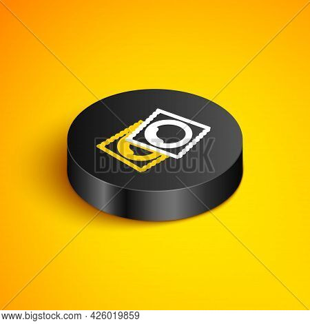 Isometric Line Condoms In Package Safe Sex Icon Isolated On Yellow Background. Safe Love Symbol. Con