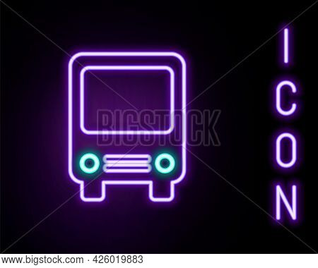 Glowing Neon Line Bus Icon Isolated On Black Background. Transportation Concept. Bus Tour Transport