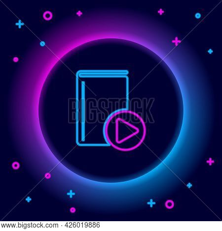 Glowing Neon Line Audio Book Icon Isolated On Black Background. Play Button And Book. Audio Guide Si
