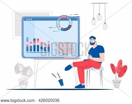 Online Business Documents Workflow Or Business Training Concept With Man Studying Chats On Computer