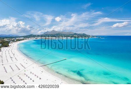 Aerial View Of Platja De Muro In Alcudia Bay, Majorca Island, Spain