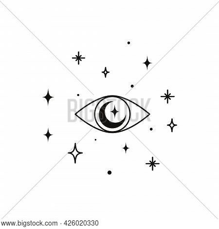 Alchemy Esoteric Magic Celestial Talisman With Witchcraft Eye Sacred Geometry. Spiritual Occultism O