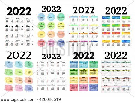 Set Of Eight Vertical Calendars For 2022 Isolated On A White Background. Sunday To Monday, Business
