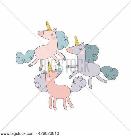 Three Cute Cartoon Unicorns. Poster. Magical Animals.