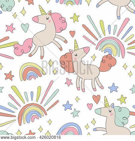 Cute Unicorns. Cartoon Magic Animals. Rainbow, Stars, Hearts. Seamless Vector Pattern (background).