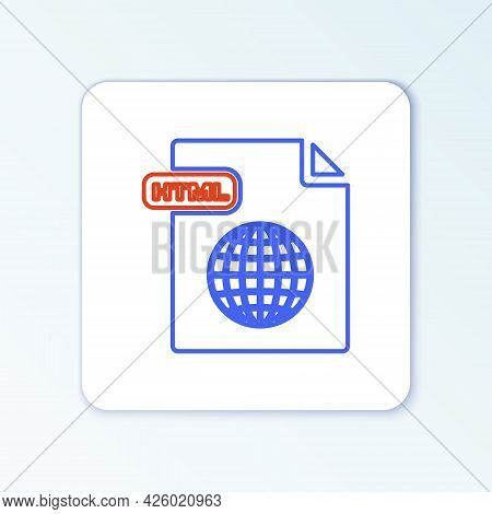 Line Html File Document. Download Html Button Icon Isolated On White Background. Html File Symbol. M