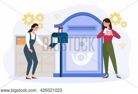 Newsletter Email Concept. Two Girls Stand At Different Mailboxes And Receive Letters In Envelopes. M