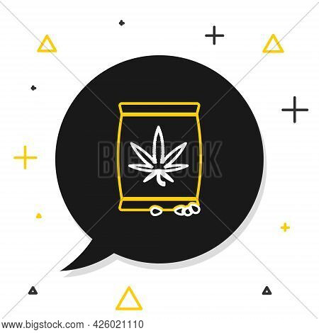Line Marijuana Or Cannabis Seeds In A Bag Icon Isolated On White Background. Hemp Symbol. The Proces