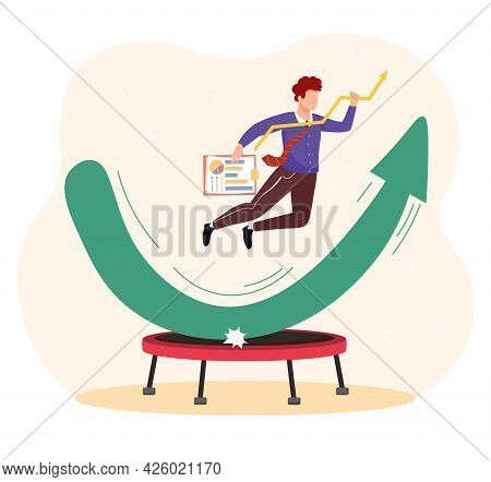 Stock Market Rebound. The Man Symbolizes The Stock Market, Which Jumped On The Trampoline And Bounce