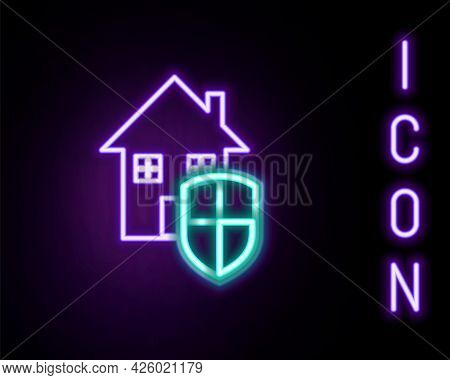Glowing Neon Line House Under Protection Icon Isolated On Black Background. Home And Shield. Protect