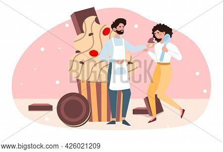 Sweet-tooth Concept. The Characters Stand Against The Background Of A Sweet Large Cupcake, Chocolate