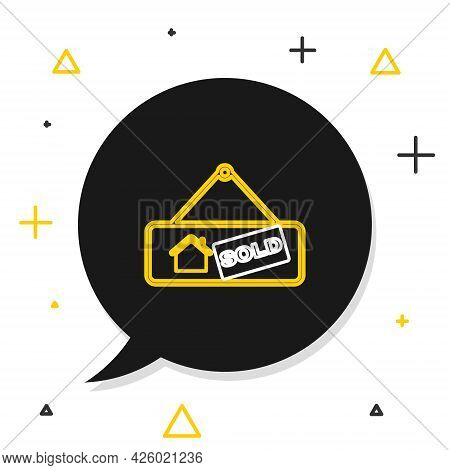 Line Hanging Sign With Text Sold Icon Isolated On White Background. Sold Sticker. Sold Signboard. Co