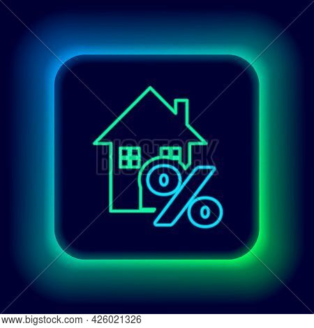 Glowing Neon Line House With Percant Discount Tag Icon Isolated On Black Background. House Percentag