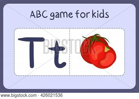 Kid Alphabet Mini Games In Cartoon Style With Letter T - Tomato. Vector Illustration For Game Design