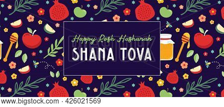 Jewish New Year, Rosh Hashanah, Greeting Card Banner With Traditional Icon Pattern. Happy New Year,